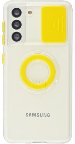 Coque Samsung Galaxy S21 5G - Caméra clapet avec anneau jaune
