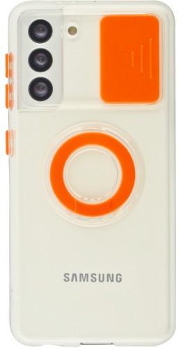Coque Samsung Galaxy S21 5G - Caméra clapet avec anneau orange
