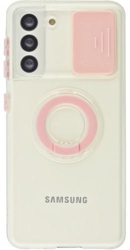 Coque Samsung Galaxy S21 5G - Caméra clapet avec anneau rose