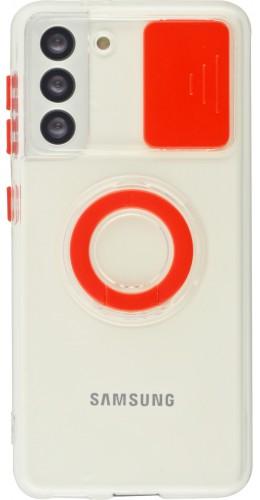 Coque Samsung Galaxy S21 5G - Caméra clapet avec anneau rouge