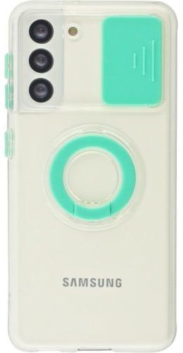 Coque Samsung Galaxy S21 5G - Caméra clapet avec anneau turquoise