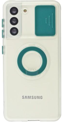 Coque Samsung Galaxy S21 5G - Caméra clapet avec anneau vert foncé