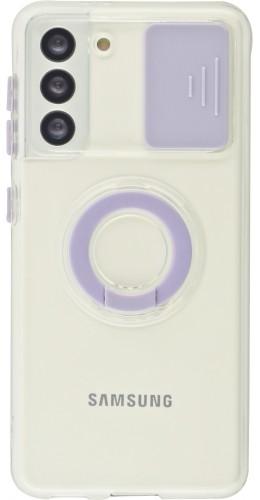 Coque Samsung Galaxy S21 5G - Caméra clapet avec anneau violet