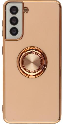 Coque Samsung Galaxy S21 5G - Gel Bronze avec anneau rose