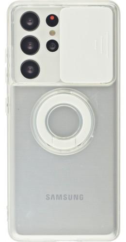 Coque Samsung Galaxy S21 Ultra 5G - Caméra clapet avec anneau blanc