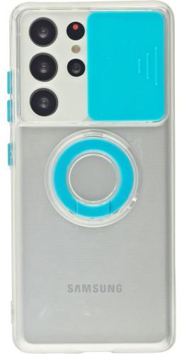 Coque Samsung Galaxy S21 Ultra 5G - Caméra clapet avec anneau bleu