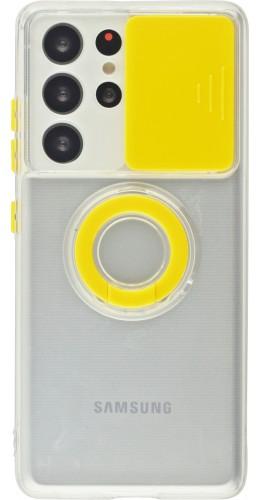 Coque Samsung Galaxy S21 Ultra 5G - Caméra clapet avec anneau jaune
