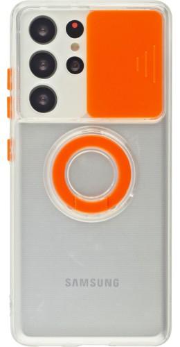 Coque Samsung Galaxy S21 Ultra 5G - Caméra clapet avec anneau orange