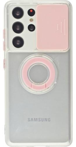Coque Samsung Galaxy S21 Ultra 5G - Caméra clapet avec anneau rose