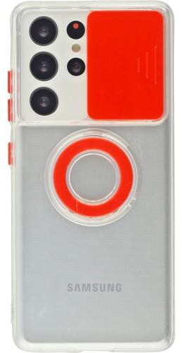 Coque Samsung Galaxy S21 Ultra 5G - Caméra clapet avec anneau rouge