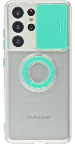 Coque Samsung Galaxy S21 Ultra 5G - Caméra clapet avec anneau turquoise