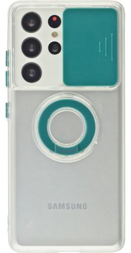 Coque Samsung Galaxy S21 Ultra 5G - Caméra clapet avec anneau vert foncé