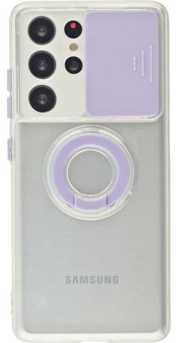 Coque Samsung Galaxy S21 Ultra 5G - Caméra clapet avec anneau violet