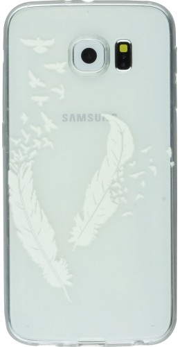 Coque Samsung Galaxy S6 - Transparent plumes blanches