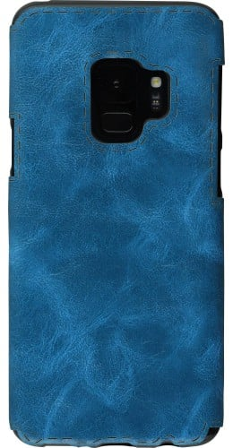 Coque Samsung Galaxy S9+ - Leather Dashed bleu