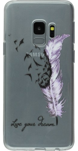 Coque Samsung Galaxy S9 - Clear Feather Live your dream
