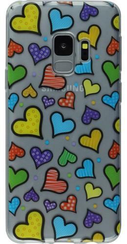 Coque Samsung Galaxy S9+ - Clear coeurs multicolores