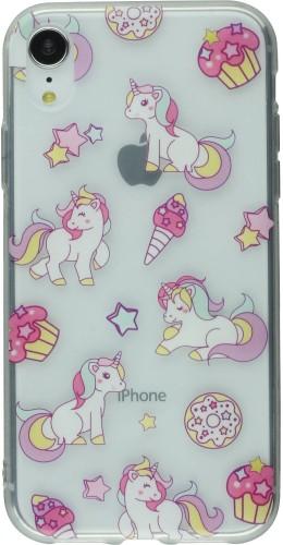 Coque iPhone X / Xs - Clear Licorne fête