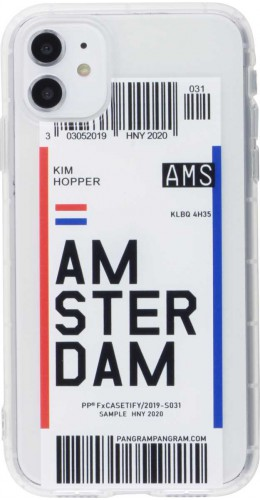Coque iPhone 11 - Boarding Card Amsterdam