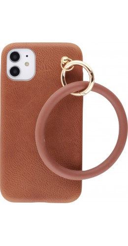 Coque iPhone 11 - Bracelet cuir brun