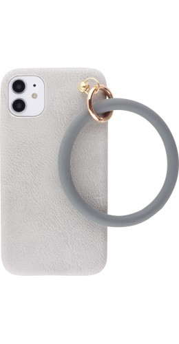 Coque iPhone 11 - Bracelet cuir gris