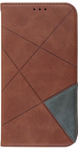 Coque iPhone 11 - Flip Géometrique brun foncé