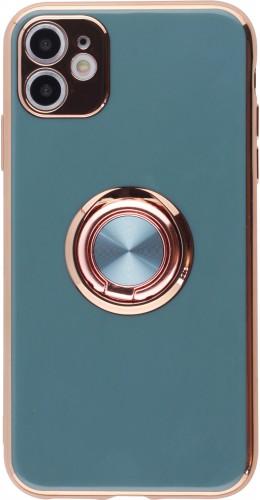 Coque iPhone 11 - Gel Bronze avec anneau gris vert