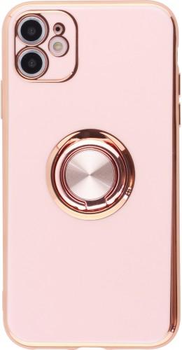 Coque iPhone 12 / 12 Pro - Gel Bronze avec anneau rose