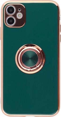 Coque iPhone 12 / 12 Pro - Gel Bronze avec anneau vert foncé