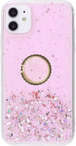 Coque iPhone 12 / 12 Pro - Gel paillettes argentées avec anneau rose