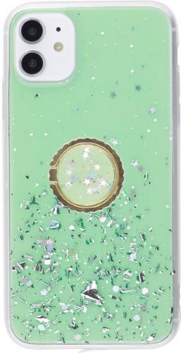 Coque iPhone 11 - Gel paillettes argentées avec anneau vert
