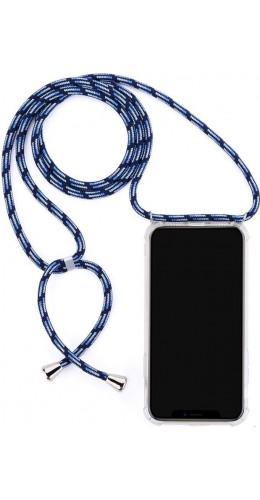 Coque iPhone 12 mini - Gel transparent avec lacet bleu tacheté
