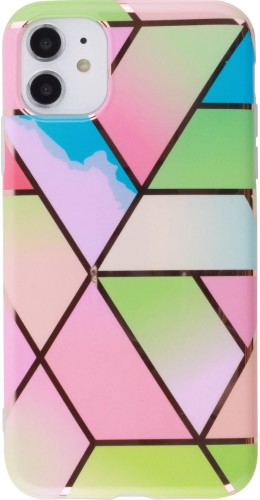 Coque iPhone 11 - Geometric Bright Line Triangles multicouleurs