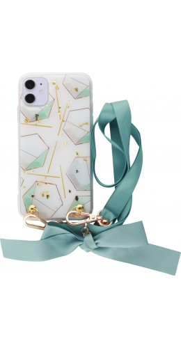 Coque iPhone 11 - Gold Flakes Geometric Lacet vert