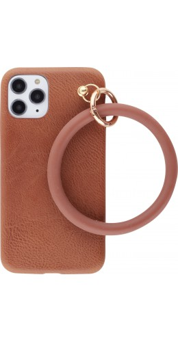 Coque iPhone 11 Pro - Bracelet cuir brun