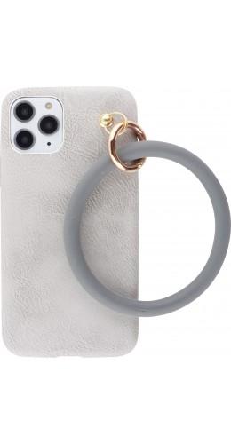 Coque iPhone 11 Pro - Bracelet cuir gris