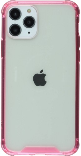 Coque iPhone 11 Pro Max - Bumper Glass rose foncé transparent