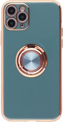 Coque iPhone 11 Pro - Gel Bronze avec anneau gris vert
