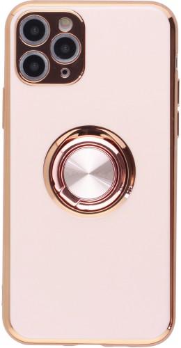 Coque iPhone 11 Pro - Gel Bronze avec anneau rose