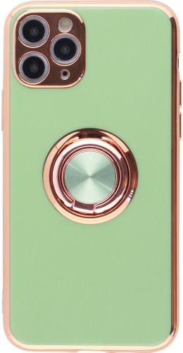 Coque iPhone 11 Pro - Gel Bronze avec anneau vert clair