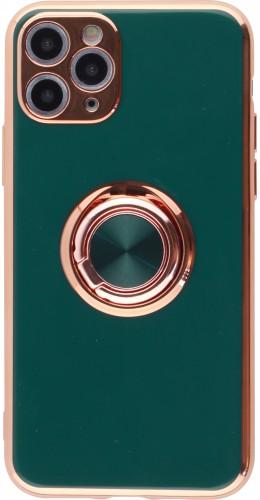 Coque iPhone 11 Pro - Gel Bronze avec anneau vert foncé