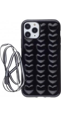 Coque iPhone 11 Pro - Gel coeurs 3D  noir