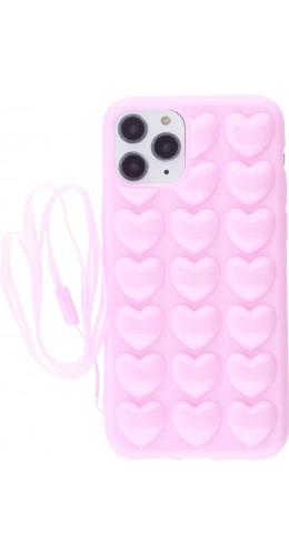 Coque iPhone 11 Pro - Gel coeurs 3D  rose clair