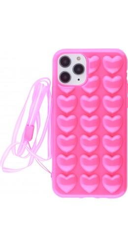 Coque iPhone 11 Pro - Gel coeurs 3D  rose foncé