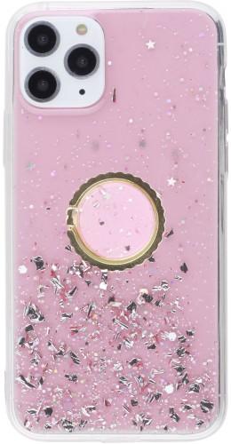 Coque iPhone 11 Pro - Gel paillettes argentées avec anneau rose