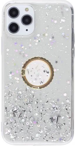 Coque iPhone 11 Pro - Gel paillettes argentées avec anneau transparent
