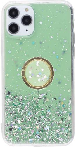 Coque iPhone 11 Pro - Gel paillettes argentées avec anneau vert