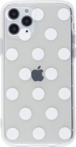 Coque iPhone 12 mini - Gel pois blanc