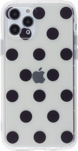 Coque iPhone 12 mini - Gel pois noir