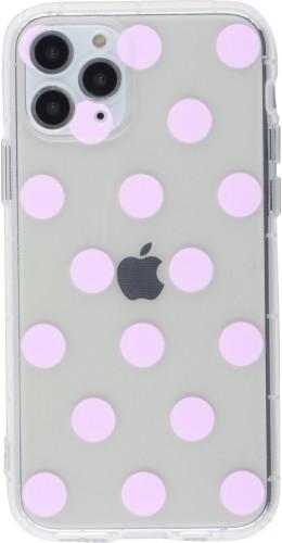 Coque iPhone 12 mini - Gel pois rose